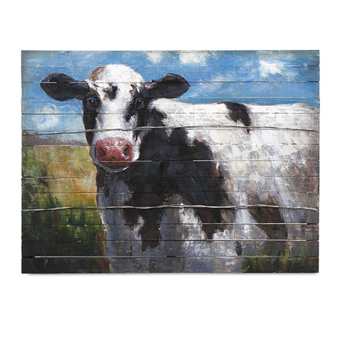 IMAX Worldwide Home - Ella Elaine Lester Cow Oil Painting - 76239