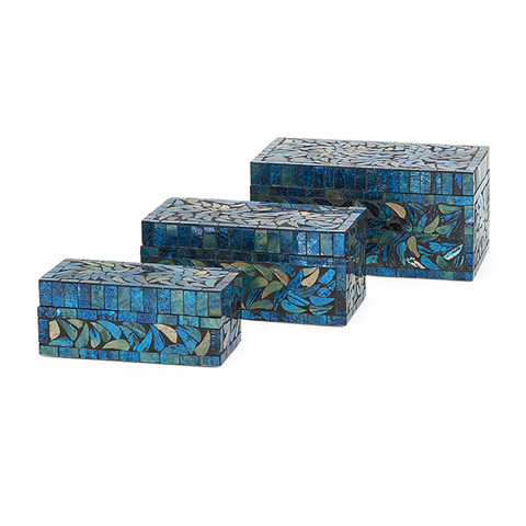 IMAX Worldwide Home - Peacock Mosaic Boxes - Set of 3 - 80014-3