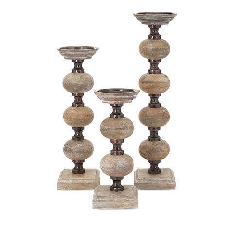 IMAX Worldwide Home - Nahla Wood Candle Sticks - Set of 3 - 81670-3