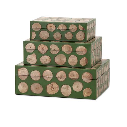 IMAX Worldwide Home - Peyton Wood Disc Boxes - Set of 3 - 81680-3