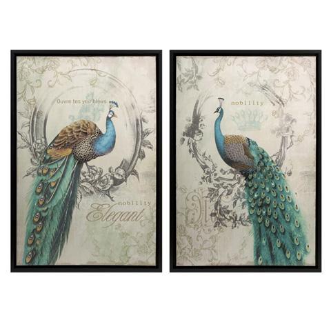 IMAX Worldwide Home - Panache Peacock Art - Set of 2 - 82097-2
