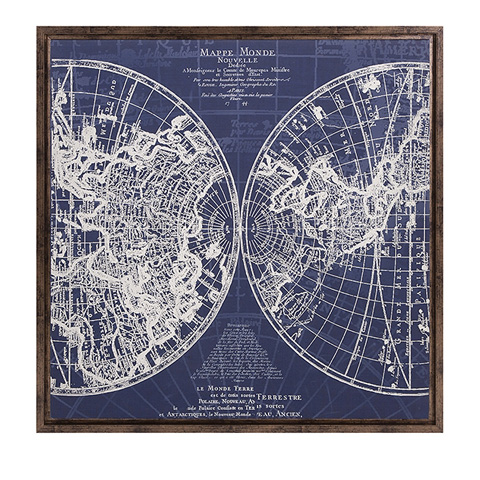 IMAX Worldwide Home - Harrington Framed Blue Map - 82200