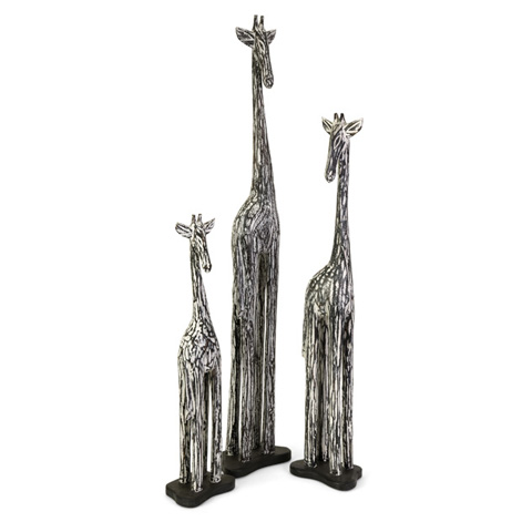 IMAX Worldwide Home - Banji Wood Carved Giraffes - Set of 3 - 83011-3