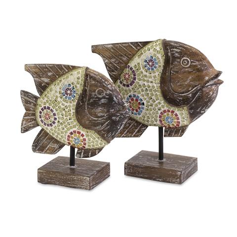 IMAX Worldwide Home - Kawela Mosaic Glass Fish - Set of 2 - 83019-2