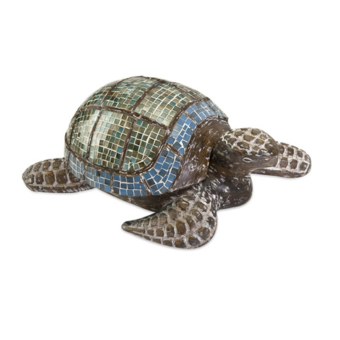 IMAX Worldwide Home - Talulah Carved Wood Mosaic Turtle - 83023