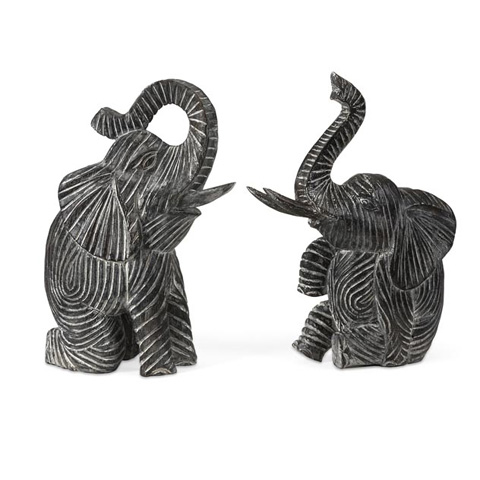 IMAX Worldwide Home - Bakari Wood Carved Elephants - Set of 2 - 83029-2