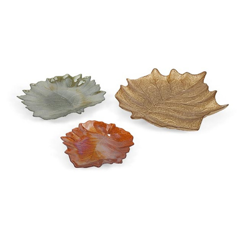 IMAX Worldwide Home - Harvest Leaves Glass Plates - Set of 3 - 83176-3
