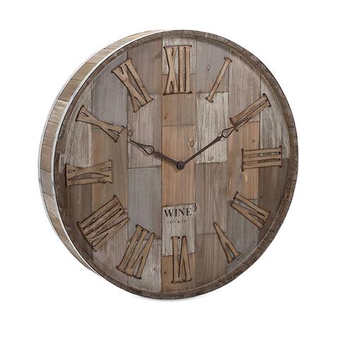 IMAX Worldwide Home - Wine Barrel Wood Wall Clock - 83457