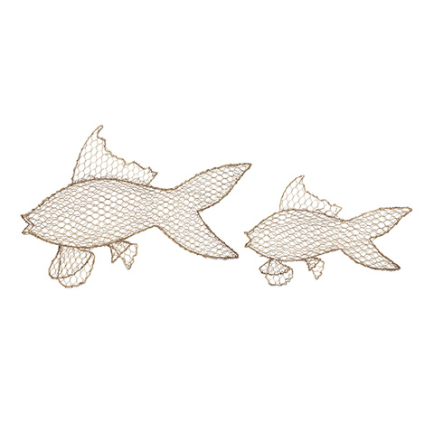 IMAX Worldwide Home - Astaire Gold Metal Fish - Set of 2 - 83624-2