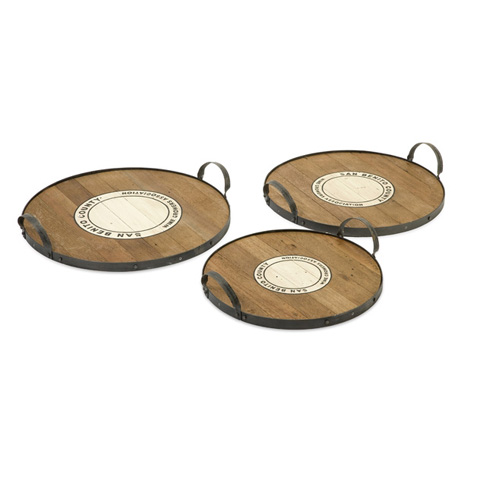 IMAX Worldwide Home - Benito Wood and Metal Trays - Set of 3 - 84306-3