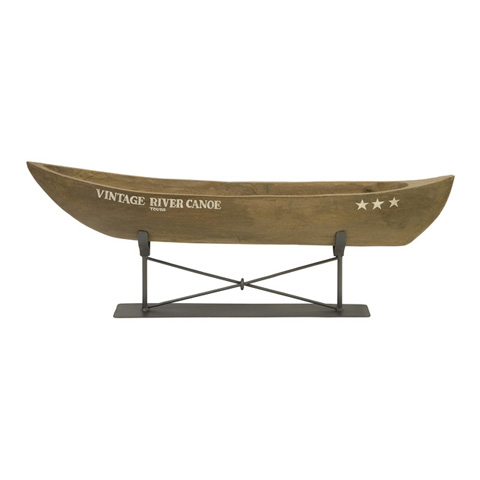 IMAX Worldwide Home - Vintage River Canoe on Metal Stand - 84310