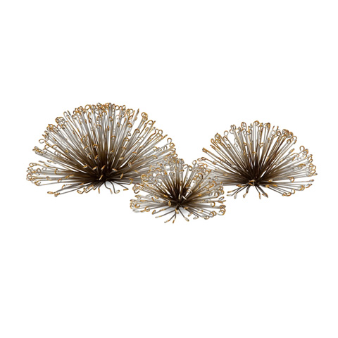 IMAX Worldwide Home - Laserette Wire Flower Wall Decor - Set of 3 - 84459-3