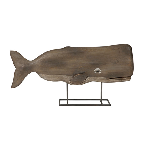 IMAX Worldwide Home - Achilles Carved Wood Whale Statuary - 84492