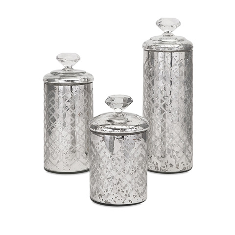 IMAX Worldwide Home - Nikki Chu Waldorf Mercury Glass Canisters-Set of 3 - 84795-3