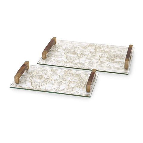 IMAX Worldwide Home - Beth Kushnick Glass Trays - Set of 2 - 86156-2