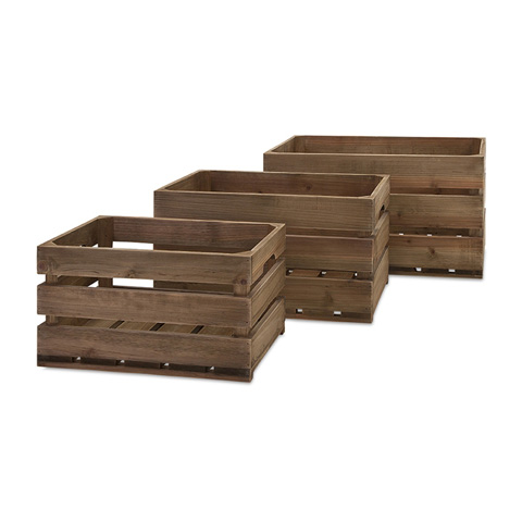 IMAX Worldwide Home - Ainsley Wood Crates - Set of 3 - 86500-3