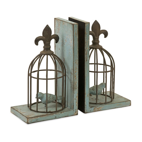 IMAX Worldwide Home - Birdcage Bookends - Set of 2 - 87378-2
