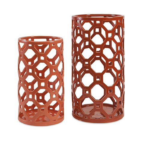 IMAX Worldwide Home - Archard Cutwork Ceramic Vase - Set Of 2 - 87837-2