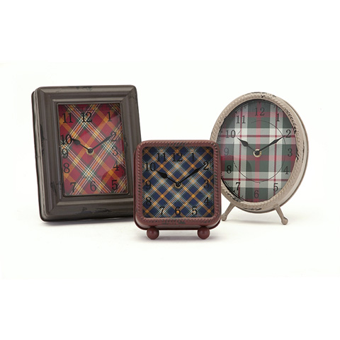 IMAX Worldwide Home - Riley Plaid Metal Clocks - Set of 3 - 89148-3