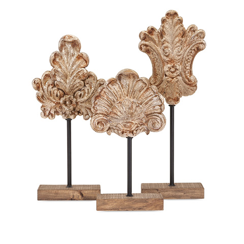 IMAX Worldwide Home - Angelil Floral Sculptures on Stands - Set of 3 - 89152-3