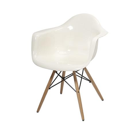 IMAX Worldwide Home - Arturo White Acrylic Chair w/ Wood Leg - 89526
