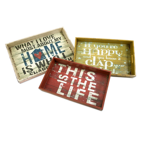 IMAX Worldwide Home - Morris Home Happy and Life Trays - Set of 3 - 97020-3