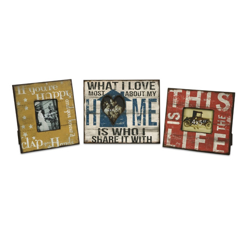 IMAX Worldwide Home - Morris Home Happy and Life Frames - Set of 3 - 97024-3