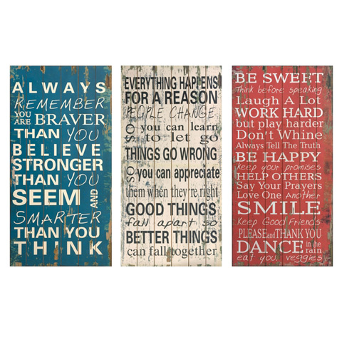 IMAX Worldwide Home - Rules of Life Wall Decor - Set of 3 - 97087-3
