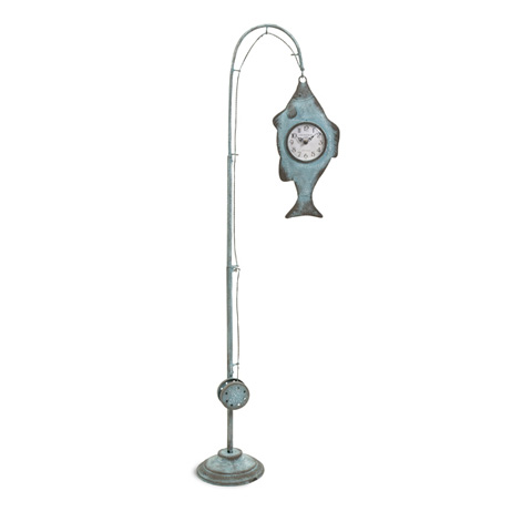 IMAX Worldwide Home - Ackland Hanging Fish and Pole Floor Clock - 97190