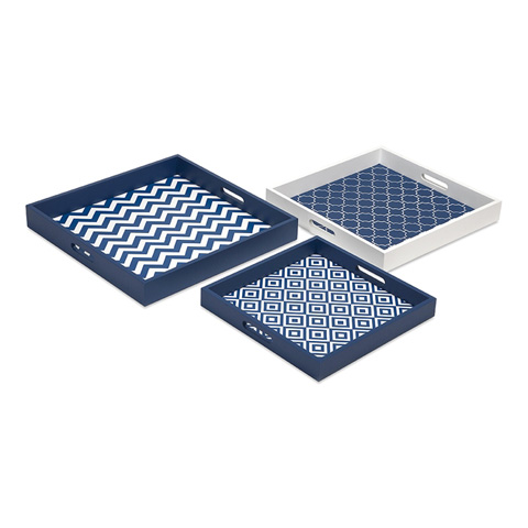 IMAX Worldwide Home - Essentials Graphic Marine Blue Trays - Set of 3 - 97411-3