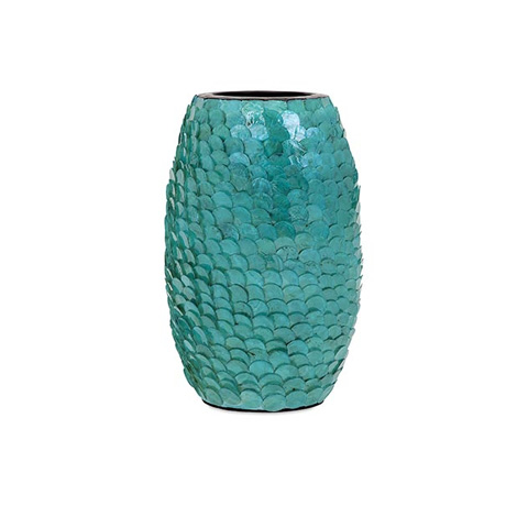 IMAX Worldwide Home - Estela Small Blue Shell Vase - 31139