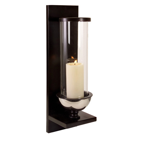 IMAX Worldwide Home - Silver Metal and Glass Wall Sconce - 56075