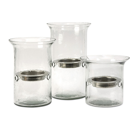 IMAX Worldwide Home - Glass and Iron Tealight Holders - Set of 3 - 71632-3