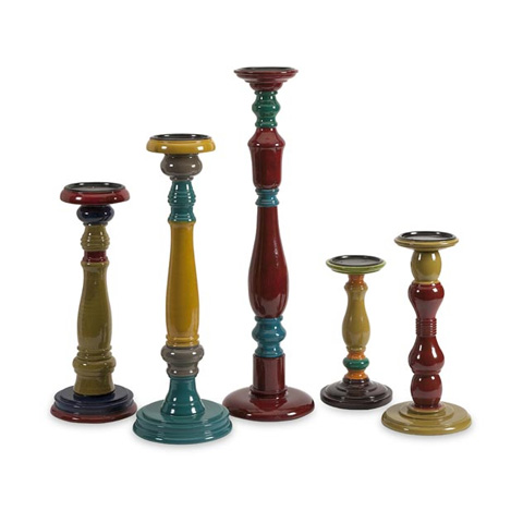 IMAX Worldwide Home - Jasper Wood Candleholders - Set of 5 - 73168-5