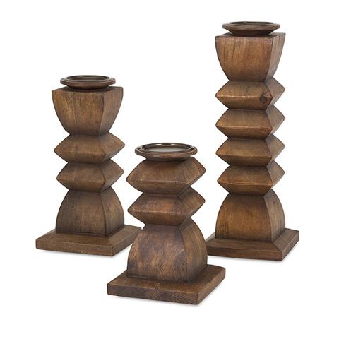 IMAX Worldwide Home - Desta Wood Candleholders - Set of 3 - 73389-3
