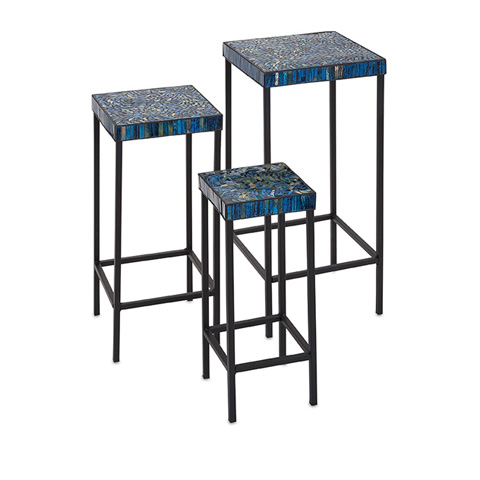 IMAX Worldwide Home - Peacock Mosaic Tables - Set of 3 - 80037-3