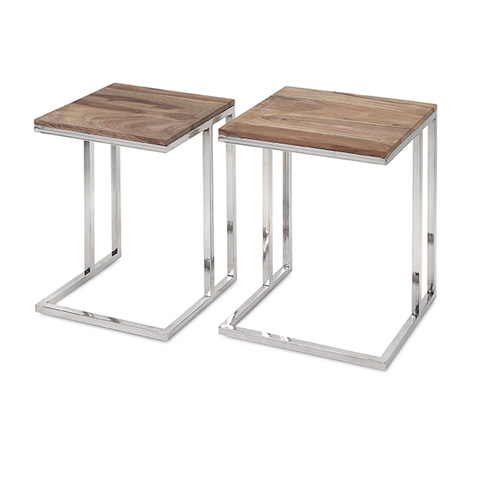 IMAX Worldwide Home - Cairo Stainless Steel Occasional Tables - Set of 2 - 83227-2