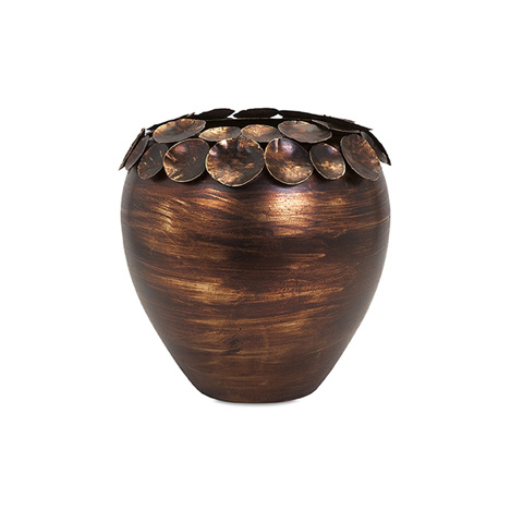 IMAX Worldwide Home - Ethan Small Copper Leaf Vase - 83600