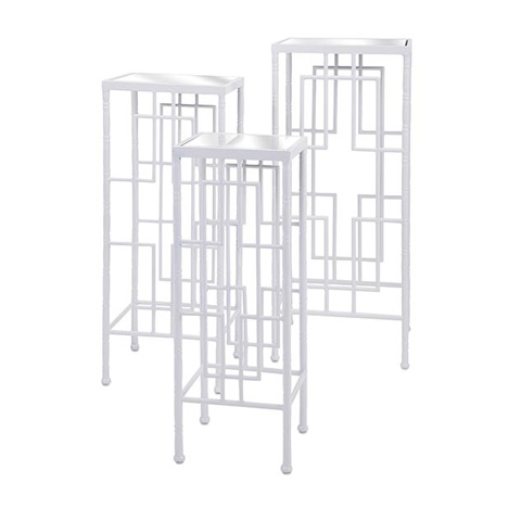 IMAX Worldwide Home - Arnaz Metal Bamboo Nesting Tables - Set of 3 - 83617-3
