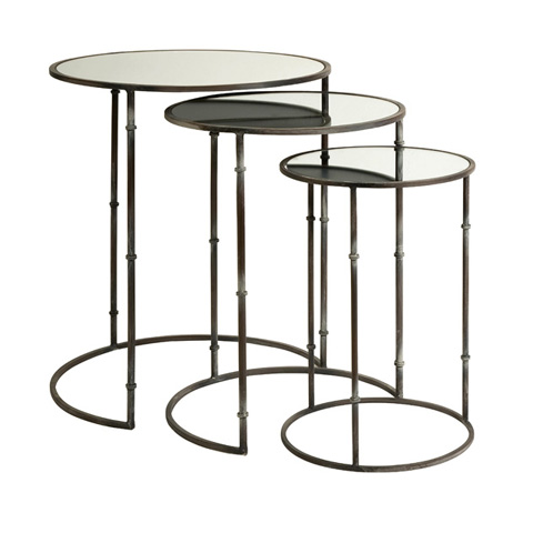 IMAX Worldwide Home - Flouressa Mirror Top Nesting Tables - Set of 3 - 84151-3