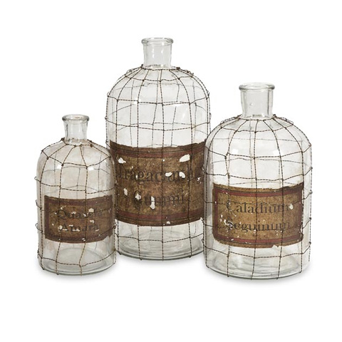 IMAX Worldwide Home - Dimora Wire Caged Bottles - Set of 3 - 84819-3
