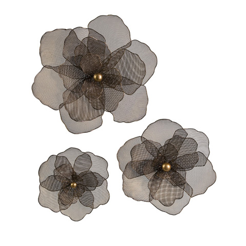 IMAX Worldwide Home - Astaire Flower Wall Decor - Set of 3 - 87229-3