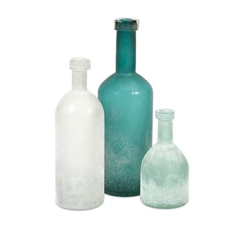 IMAX Worldwide Home - Russell Handblown Glass Bottles - Set 3 - 89325-3
