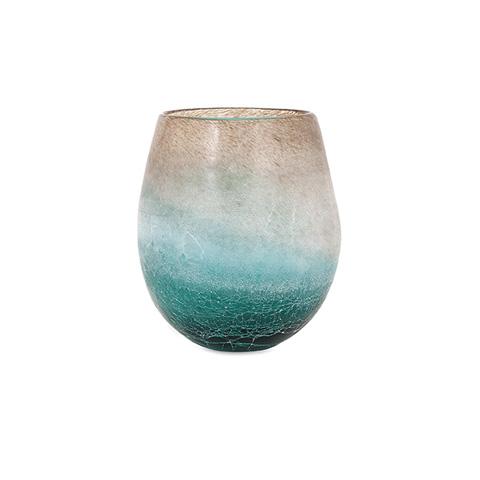 IMAX Worldwide Home - Luna Short Blue Frosted Vase - 89351