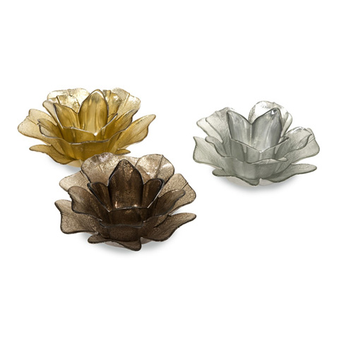 Image of Hanna Glass Floral Votives - Set of 3