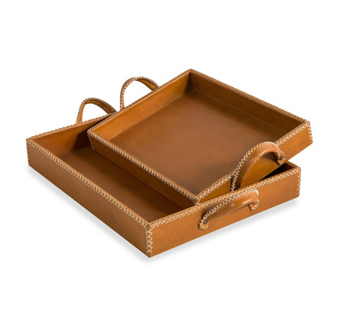 Interlude Home - Greer Leather Trays - 988047