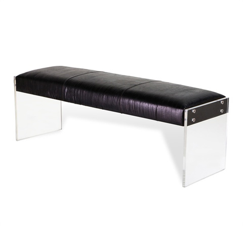 Image of Aiden Leather Bench in Black