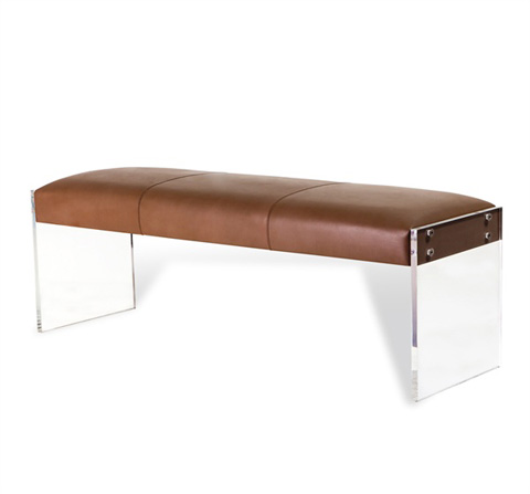 Image of Aiden Leather Bench in Taupe