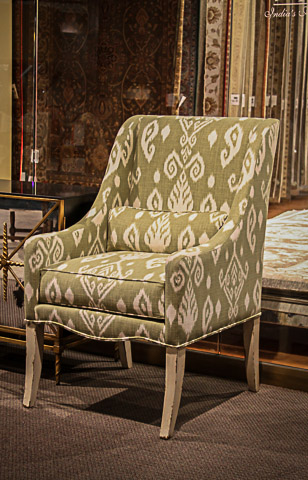 John Richard Collection - Swedish White Ikat Print Chair - AMF-05-1194V28-E493