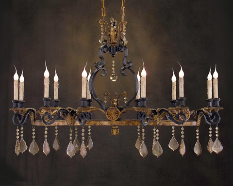 John Richard Collection - Twelve Light Black and Gold Chandelier - AJC-8482